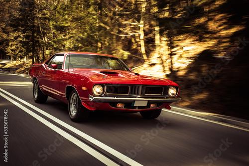 Obraz oldtimer  czerwony-samochod