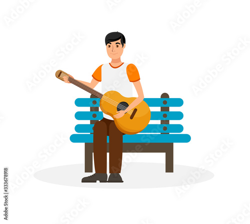 Handsome Man with Acoustic Guitar Illustration Wallpaper Mural