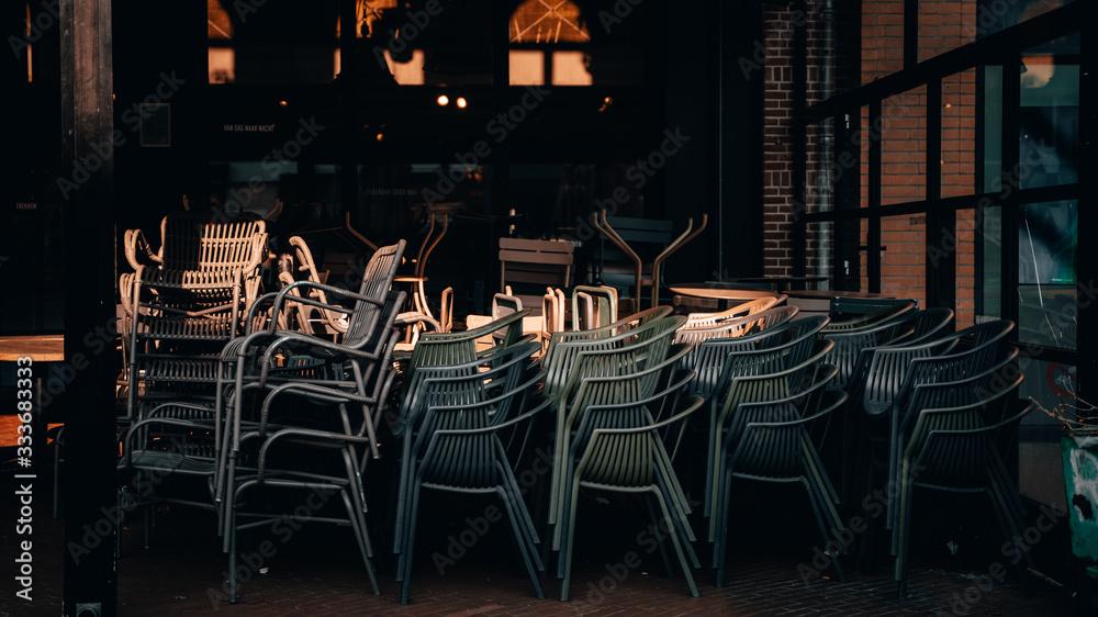 Fototapeta Empty restaurant terrace during the corona threat