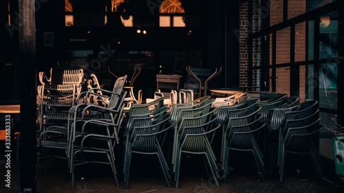 Fototapeta Empty restaurant terrace during the corona threat obraz