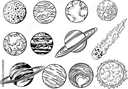Photo Set of space planets