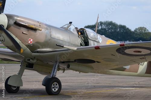 Canvas Print British Royal Air Force (RAF) Merlin Spitfire on runway at Air Show, England, UK