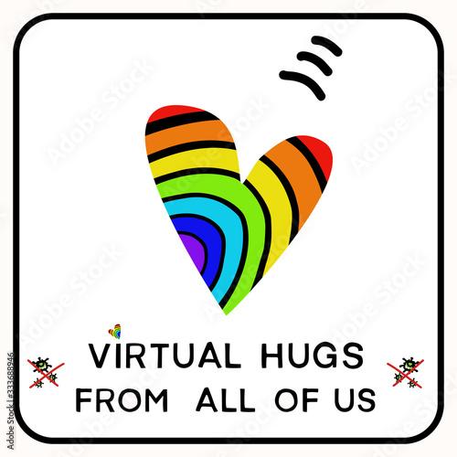 Sending virtual rainbow hug heart corona virus crisis banner Fototapet