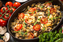 Baked Meat With Vegetables On ...