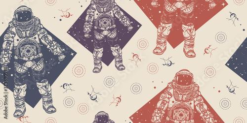 astronauta-kosmonauta-w-przestrzeni-kosmicznej-wzor-pakowanie-starego-papieru-styl-scrapbookingu-tlo-sredniowieczny-rekopis-sztuka
