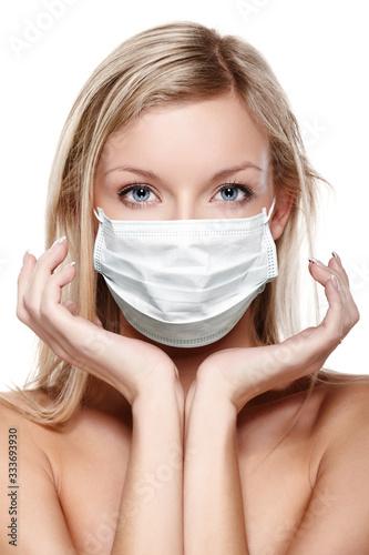 corona virus concept. woman in protective mask Wallpaper Mural