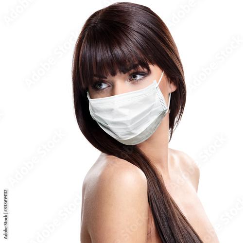 Obraz corona virus concept. woman in protective mask - fototapety do salonu