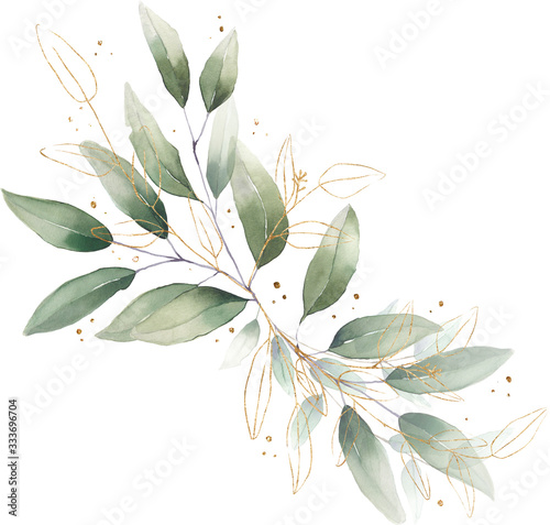 Fototapety, obrazy: watercolor floral illustration foliage bouquet composition arrangement wreath greenery herbs round frame geometric natural gold green stationery wedding romance delicate silky