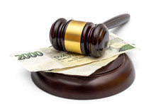 Judge's Gavel With Czech Krona Bills On White. Justice Concept.