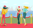 Cartoon Cinema Diva Star Character in Elegant Dress Giving Interview on Red Carpet. Award Ceremony, Shooting Crew and Celebrity. Journalists and Cameraman Recording Video. Vector Flat Illustration
