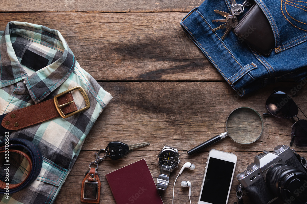 Fototapeta Top view of Traveler's accessories, Flat lay photography of Travel concept