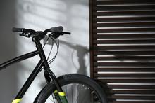 Modern Black Bicycle Near Grey...