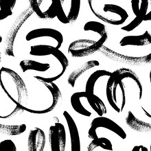 Black Paint Swirled Line Vector Seamless Pattern. Wavy And Curly Lines, Round Shapes, Dry Brush Stroke Texture.