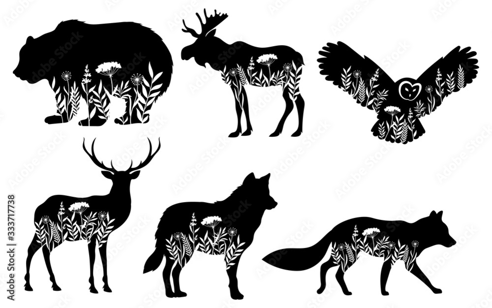 Fototapeta Set of stylized nature animals. Collection of animal silhouettes with a flowers. Logos of wild animals. Tattoo. Vector illustration for children.