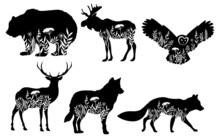 Set Of Stylized Nature Animals...