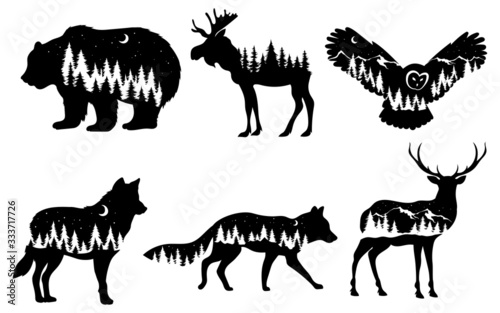 Set of stylized nature animals Wallpaper Mural