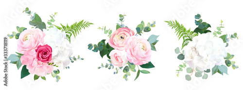 Eco style wedding flowers vector design bouquets Billede på lærred