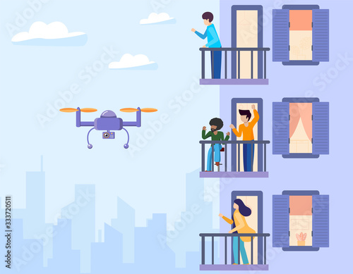 Fototapety, obrazy: The copter flies and takes off, monitors and watches over the facade of house with balconies. People stand on the terraces and wave to the robot. Vector flat illustration urban buildings background.