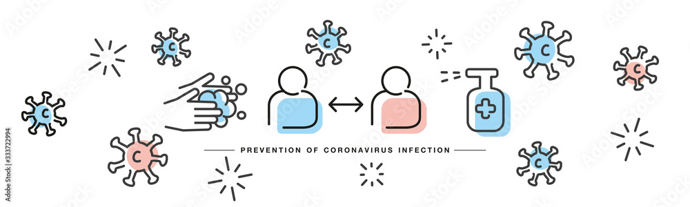 Fototapeta Prevention of Corona virus Covid 19 infection handwritten line design info graphic white isolated background banner