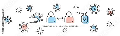 Obraz Prevention of Corona virus Covid 19 infection handwritten line design info graphic white isolated background banner - fototapety do salonu