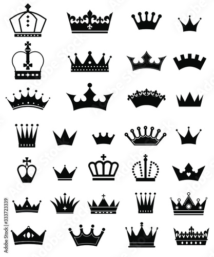 Vector set of crown icons. Collection. Fototapete