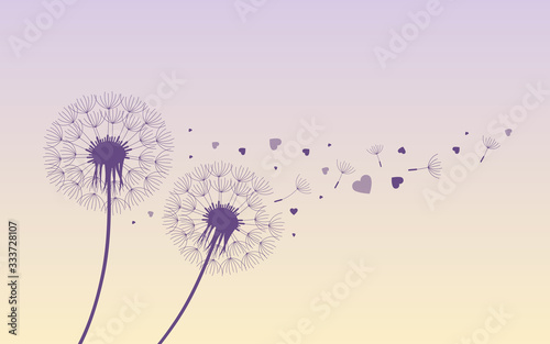 Fototapeta dandelion silhouette with flying seeds and hearts for valentines day vector illustration EPS10 obraz