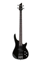 Black Electric Bass Guitar Isolated On White With Clipping Path
