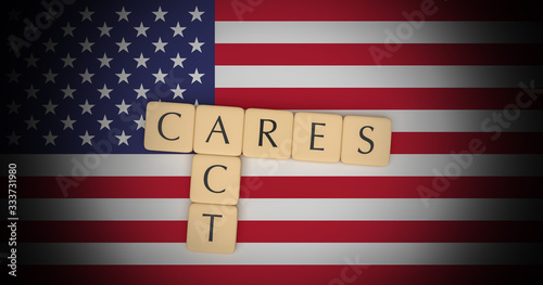 Coronavirus Aid, Relief, And Economic Security Act: Letter Tiles CARES Act On US Canvas Print