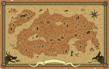 Large Fantasy Map With Towers, Dungeons, A Castle, A Dragon, Orcs, Goblins, Elves, A Catapult, Knights, Dwarves, Sea Creatures, Ships, An Ornate Frame, Skeletons, Mountains, Trees, A Volcano, Etc.