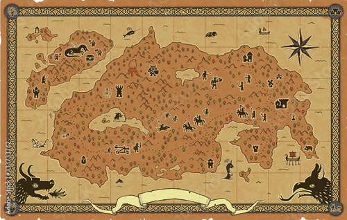 Fotografija Large fantasy map with towers, dungeons, a castle, a dragon, orcs, goblins, elves, a catapult, knights, dwarves, sea creatures, ships, an ornate frame, skeletons, mountains, trees, a volcano, etc