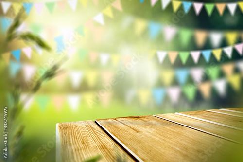 Fotografie, Obraz desk of free space and blurred garden background