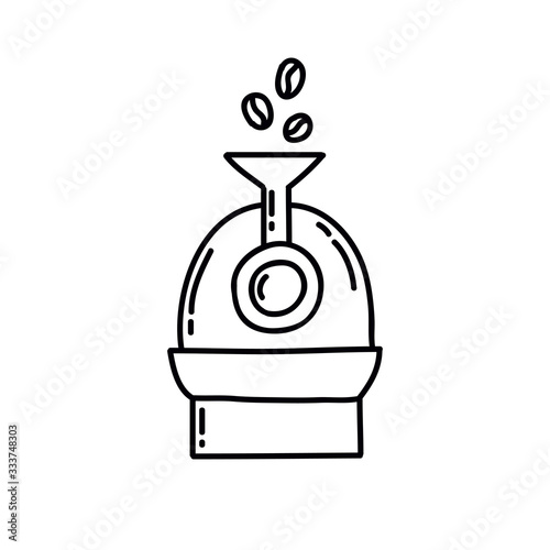 Fotografija coffee roaster machine doodle icon, vector illustration