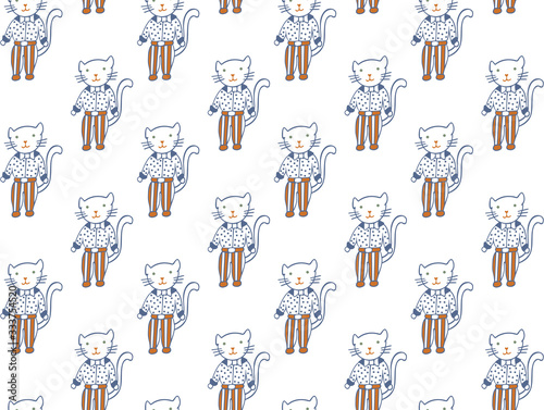 Seamless pattern from cats in striped trousers and a polka dot shirts with a bow ties. Scandinavian-style feline family pets for children's design,  textile, fabric, wrapping papper, clothing. Vector.