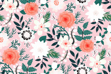 Hand Drawn Botanical Flowers, Leaves, Berries. Bouquet Of Pastel Pink, Coral, White Flowers. Set Of Plant Elements. Vector Illustrations In A Drawn Style. Elegant Floral Print. Spring Fashion Template