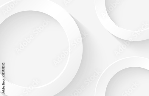 Fototapeta Modern minimal and clean white paper cut background with realistic circle shape