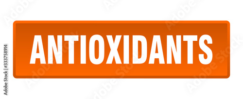 Photo antioxidants button. antioxidants square orange push button