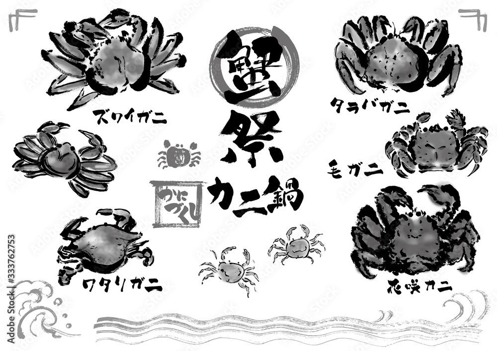 Fototapeta 白黒、 モノクロ、 単色、カニ、蟹、かに、毛ガニ、ワタリガニ、蟹祭、カニ素材、ズワイガニ、