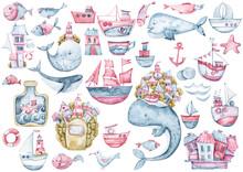 Watercolor Cute Fantasy Whales...