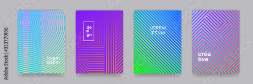 Obraz Color gradient background, geometric halftone line pattern, vector abstract design. Simple minimal elements in halftone color gradient, modern pattern backgrounds - fototapety do salonu