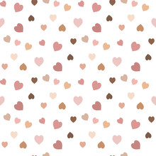 Seamless Pattern With Exquisite Discreet Pink, Beige And Brown Hearts On White Background For Plaid, Fabric, Textile, Clothes, Tablecloth And Other Things. Vector Image.