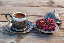 Traditional Delicious Turkish Coffee And Turkish Rose Delight Dessert