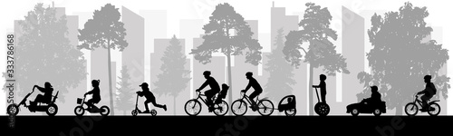 Obraz Urban leisure activities in spring and summer. People ride bicycles, scooters, cars, segway. Silhouette of urban park. Vector illustration. - fototapety do salonu