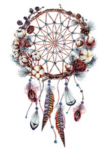 Watercolor Boho Dream Catcher Illustration