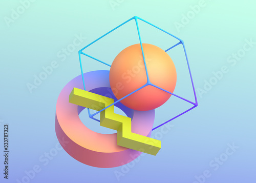 Fotografija Abstract 3d render, background design with geometric shapes