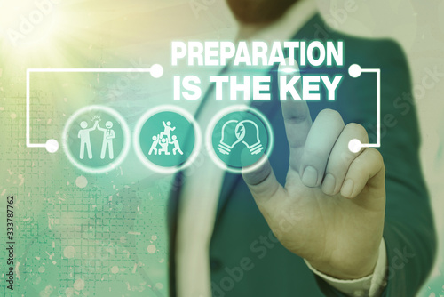 Text sign showing Preparation Is The Key Poster Mural XXL