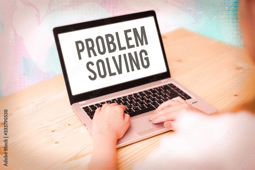 Fototapeta Text sign showing Problem Solving. Business photo showcasing process of finding solutions to difficult or complex issues