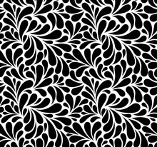 Vector Seamless Black And White Pattern With Drops. Monochrome Abstract Floral Background.