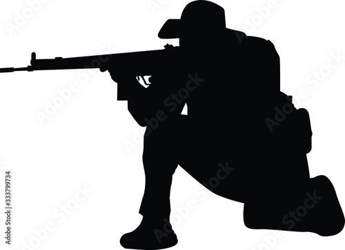 Obraz na płótnie Vector illustration solider with gun