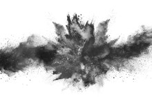Particles Of Charcoal On White...