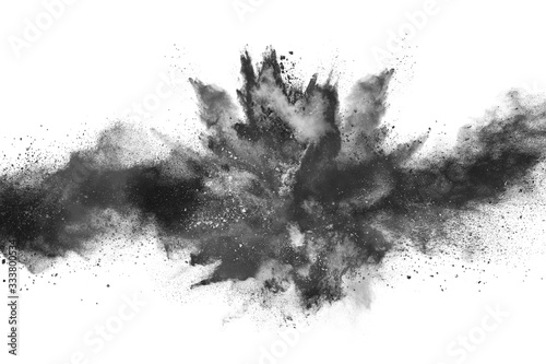 Tela particles of charcoal on white background,abstract powder splatted on white background,Freeze motion of black powder exploding or throwing black powder